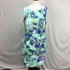 Connected Apparel Mint Floral Tiered Ruffle Dress